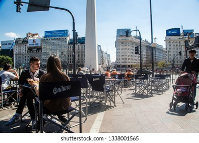 Buenos Aires/Federal District of Buenos Aires/Argentina - Out 14 2018: Partial View Square between Av. 9 de Julio s / n corner with Av. Corrien