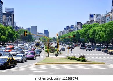 BUENOS AREAS ARGENTINA NOVEMBER 29: Plaza de Avenida 9 de Julio is a wide avenue in the city of Buenos Aires, Argentina. Its name honors Argentina's Independence Day, July 9, 1816. On nov. 29 2011