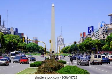 BUENOS AREAS ARGENTINA NOVEMBER 29:Obelisco Avenida 9 de Julio is a wide avenue in the city of Buenos Aires, Argentina. Its name honors Argentina's Independence Day, July 9, 1816. On nov. 29 2011