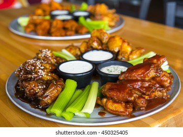 Buffalo Chicken Hot Wings with Ranch Sauce and Celery Sticks
