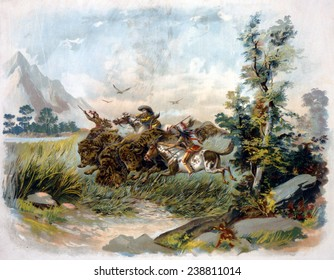 Buffalo hunt in the wild west. A buffalo hunter shooting a buffalo as two Natives ride alongside with spears. chromolithograph. c1897.