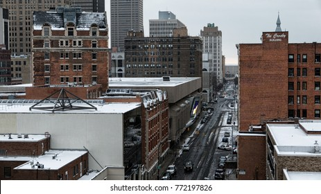BUFFALO, NEW YORK - DEC 8, 2017: Downtown Buffalo, New York, looking down Franklin Street during early evening snowfall.