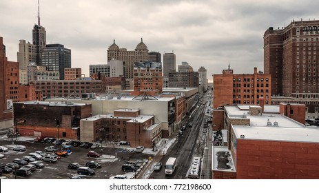 BUFFALO, NEW YORK - DEC 8, 2017: Downtown Buffalo, New York, looking down Franklin Street from West Huron Street during early winter snow.