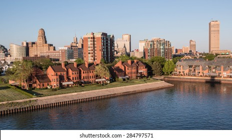 BUFFALO, NEW YORK - JUNE 3, 2015: The skyline of Buffalo, New York as seen from the marina during late afternoon.