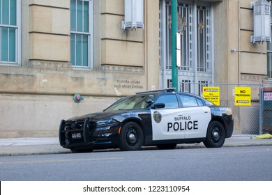 BUFFALO, NEW YORK - SEPTEMBER 15: Police Vehicle parked on city streets of downtown Buffalo, New York on September 15, 2018.