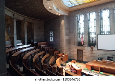 Buffalo, New York, USA - 6 November 2017:  Common Council Chamber on the 13th floor of the Art Deco City Hall in Buffalo New York, upstate New York.