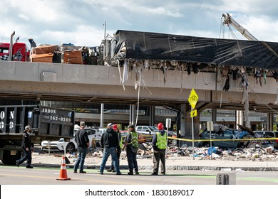 Buffalo, New York / USA - October 8 2020: Semi Filled with Garbage Overturns on Ramp to 190 North