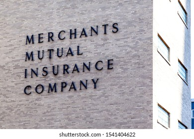 Buffalo, New York, USA- September 2, 2019: Sign of Merchants Insurance Group at its headquarters in Buffalo, New York, a Merchants Mutual Insurance Company and Merchants Preferred Insurance Company.