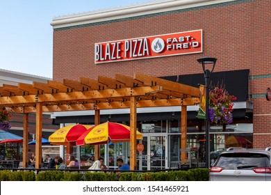 Buffalo, New York, USA- September 2, 2019: A Blaze Pizza  restaurant in Buffalo, New York, USA. Blaze Pizza LLC is a Pasadena, California-based chain within the fast-casual dining restaurants category