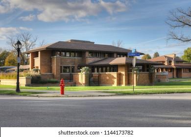 BUFFALO, NEW YORK/CANADA- SEPTEMBER 25, 2O17: The Frank Lloyd Wright's Darwin Martin House, Buffalo, New York