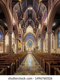 BUFFALO, NEW YORK/USA - JULY 12, 2019: Interior and nave of the historic St. Paul's Episcopal Cathedral on Pearl Street in Buffalo