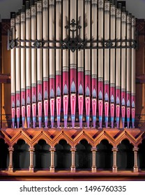 BUFFALO, NEW YORK/USA - JULY 12, 2019: Colorful and historic pipe organ inside the St. Joseph Cathedral in Buffalo, New York