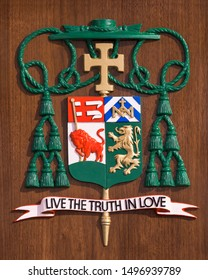 BUFFALO, NEW YORK/USA - JULY 12, 2019: Live the Truth in Love on wooden wall inside the St. Joseph Cathedral on Franklin Street in Buffalo
