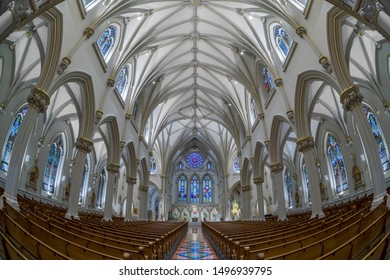 BUFFALO, NEW YORK/USA - JULY 12, 2019: Nave and interior of the historic St. Joseph Cathedral on Franklin Street in Buffalo