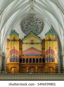 BUFFALO, NEW YORK/USA - JULY 12, 2019: Pipe organ inside the historic St. Joseph Cathedral on Franklin Street in Buffalo