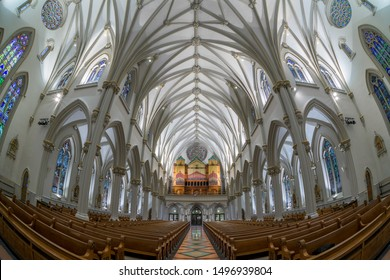 BUFFALO, NEW YORK/USA - JULY 12, 2019: Nave and pipe organ inside of the historic St. Joseph Cathedral on Franklin Street in Buffalo