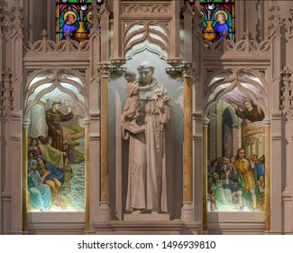 BUFFALO, NEW YORK/USA - JULY 12, 2019: Sculpture and detailed stonework inside the St. Joseph Cathedral on Franklin Street in Buffalo