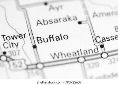 Buffalo. North Dakota. USA on a map.