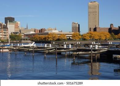 Buffalo, NY Skyline At  Late Afternoon In October With Buffalo Harbor And Erie Basin Marina