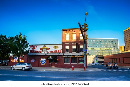 Buffalo, NY / USA - 06-20-2014: Anchor restaurant and bar in Buffalo, New York is reputed to be the famed birthplace of the Buffalo chicken wing.