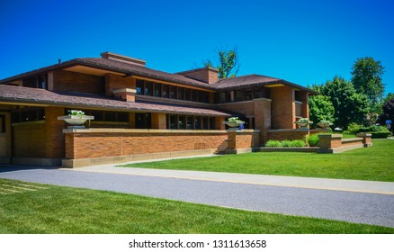 Buffalo, NY / USA -06-21-2014: The Darwin D. Martin House Complex, also known as the Darwin Martin House National Historic Landmark, was designed by Frank Lloyd Wright and built between 1903 and 1905.