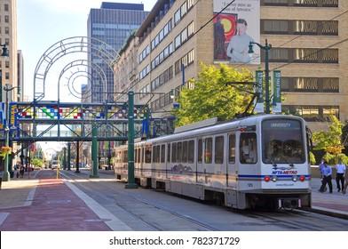 BUFFALO, NY, USA - JULY 22, 2011: Buffalo Metro Rail on Main Street at Church Street Station in downtown Buffalo, New York, USA.