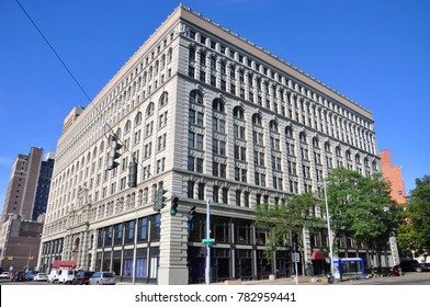 BUFFALO, NY, USA - JULY 22, 2011: Ellicott Square Building was built in 1896 on Main Street in downtown Buffalo, New York, USA.