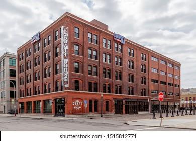 Buffalo, NY, USA - September 2, 2019: Labatt Brew House brewery and taproom in Buffalo, USA. Labatt is Canada's leading brewer.