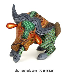 Buffalo Oaxacan alebrije wood carving art sculpture