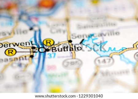 Buffalo Ohio Usa On Geography Map Stock Photo Edit Now 1229301040