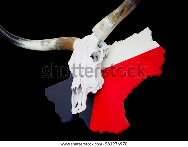 Buffalo skull with longhorn put on Texas map paint with Texas flag isolate on Black background