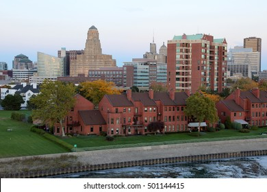 Buffalo Skyline At Dusk In October From  The Erie Basin Marina Tower