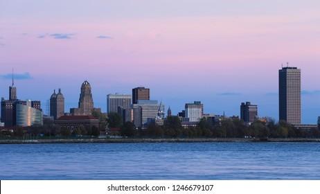The Buffalo skyline as night falls