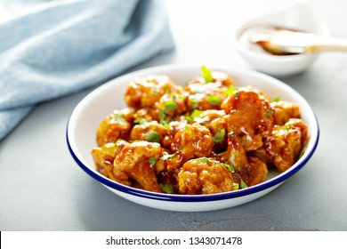 Buffalo style barbecue cauliflower on a plate