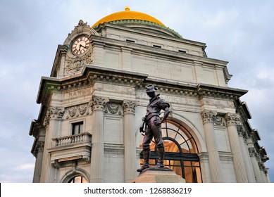 Buffalo, USA - October 23, 2018 - Neoclassical, Beaux–Arts style Buffalo Savings Bank located at Fountain Plaza in downtown Buffalo, New York