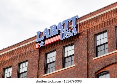 Buffalo, USA - September 2, 2019: Sign Of Labatt USA on the Building of The Labatt Brew House brewery and taproom in Buffalo, USA. Labatt is Canada's leading brewer.