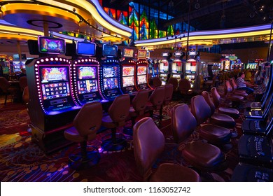 Buffalo, USA-20 July, 2018: Casino hall with slot machines and roulette tables