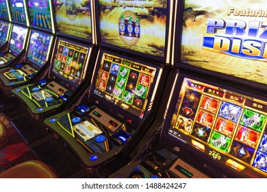 Buffalo, USA-20 July, 2018: Modern casino hall with slot machines, roulette and blackjack tables