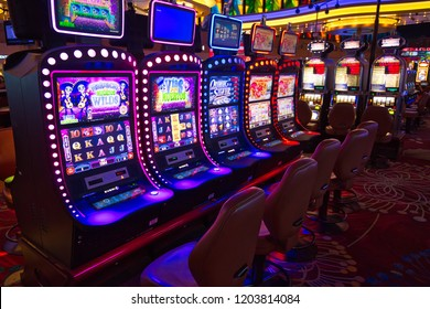 Buffalo, USA-20 July, 2018: Niagara Casino hall with slot machines and roulette tables