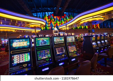 Buffalo, USA-20 July, 2018: Seneca Niagara Casino hall with slot machines and roulette tables