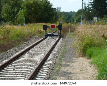 Buffer stop in the station Mirow, Mecklenburg-Western Pomerania. The final line of Neustrelitz to Mirow