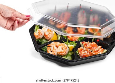 buffet box with cover set catering canape isolated