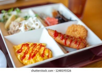 Buffet breakfast in Japanese hotel