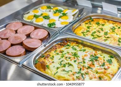 Buffet breakfast set in restaurant close up
