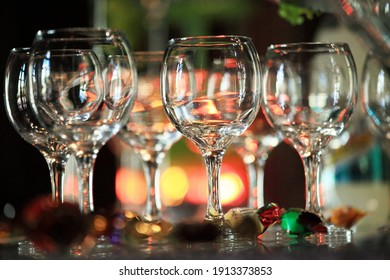 Buffet with champagne and wine glasses