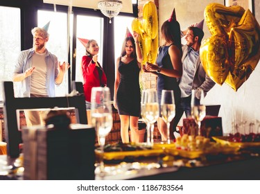 Buffet Dinner Dining Food Celebration Party Concept. Catering services background with snacks and glasses of wine
