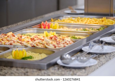 Buffet with grilled meat and vegetables