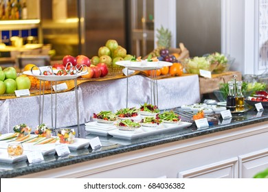 Buffet meal at a hotel, continental breakfast, snacks on the table