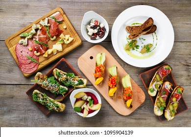 Buffet of Mediterranean snacks flat lay on table. Assorted gourmet food, chef's meals, luxury restaurant menu, appetizers variety