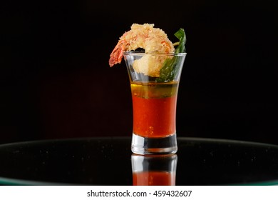 canapés for buffet on a black background